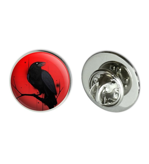 "Crow on Branch Metal 0.75"" Lapel Hat Pin Tie Tack Pinback - CV186YSZORE"