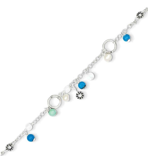 Sterling Silver Turquoise/Clear Bead- Freshwater Cultured Pearl Anklet - 9 Inch - CC113PTP82F