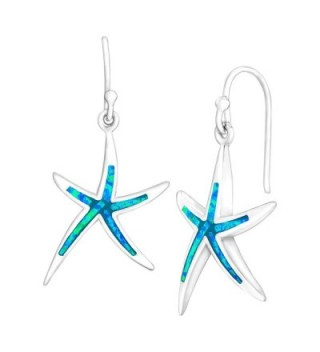 Sterling Silver Created Blue Opal Starfish Drop Earrings - CP12FY01SBH
