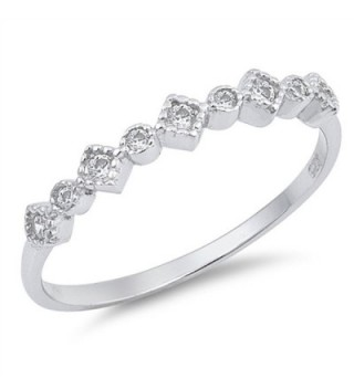White CZ Beautiful Stackable Ring New .925 Sterling Silver Thin Band Sizes 4-10 - C0182HX0H5A