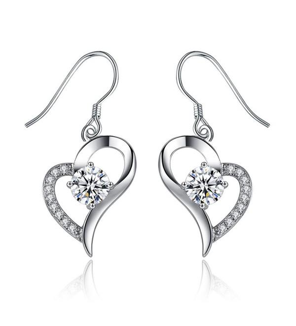 Spiritlele Elegant Crystal Heart Earring Sparkling Rhinestone Love Eardrop Jewelry for Women - silver - CE184ZGW0NQ