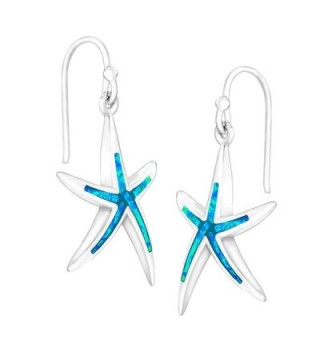 Sterling Silver Created Starfish Earrings