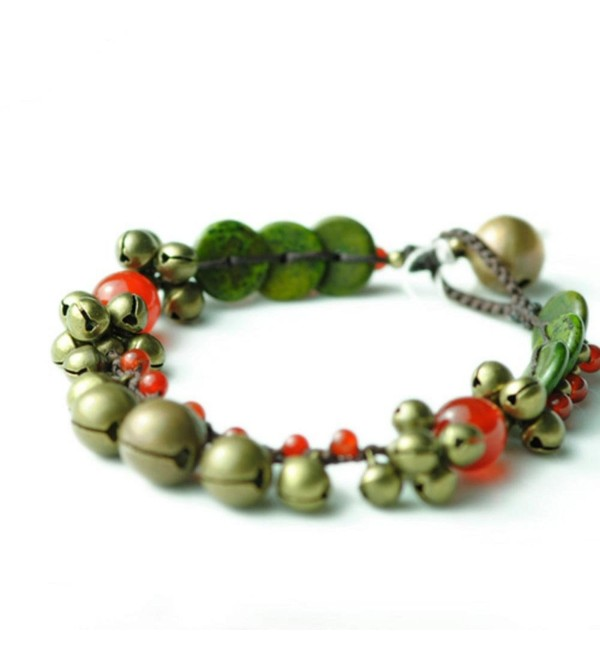 "Dlakela Thailand Copper Jingle Bell Red Agate Beads Anklet Bracelet-Women's Anklet-8"" - C511TMFXJ3B"