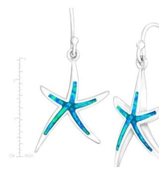 Sterling Silver Created Starfish Earrings in Women's Drop & Dangle Earrings
