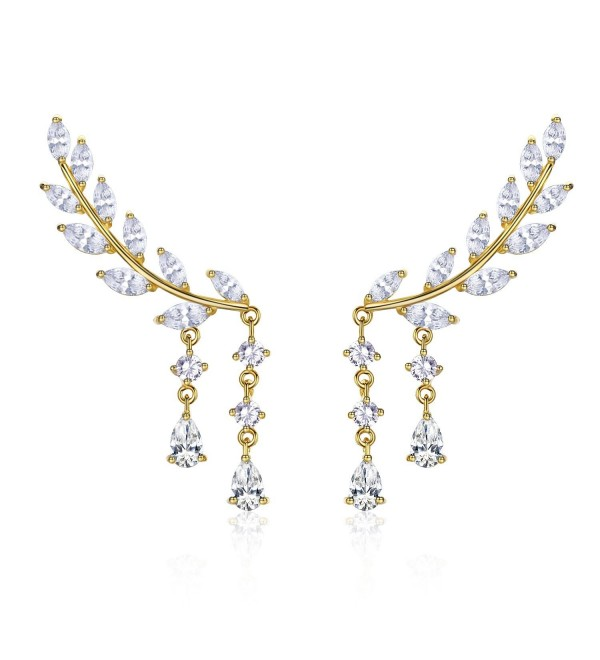 EVER SHINE Sweep Up Ear Cuffs Climbers Stud Set Drop Dangle Pierced Earrings Leaf Leaves - Gold Tone - CF12O8BBXCA