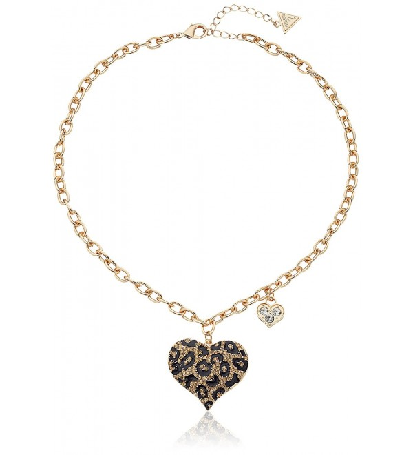 GUESS Womens Guess Gone Wild Animal Print Heart Necklace - Gold/Jet - CJ116B27FPV