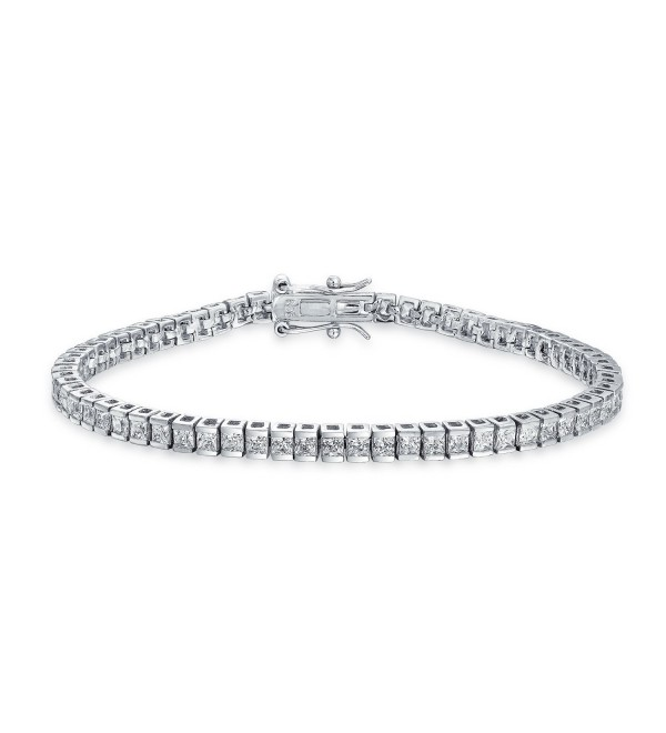Bling Jewelry Channel Set CZ Classic Sterling Silver Tennis Bracelet 7.5in - CY11E474USP