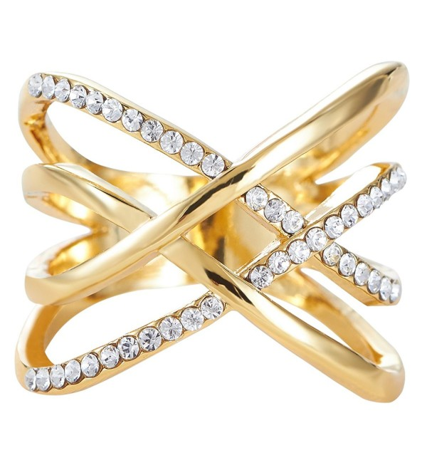 FAPPAC Crossover Entwined Ring Enriched with Swarovski Crystals - CW12GI1M6XF