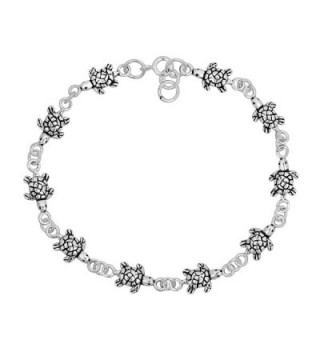 Sea Turtles Inspired .925 Sterling Silver Link Bracelet - CG11HL11WUZ
