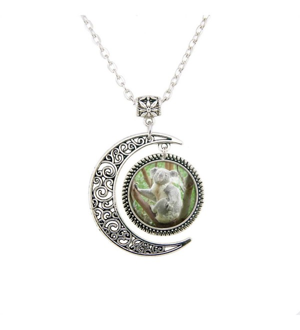 Silver Moon pendant necklace Koala Pendant Koala Necklace Koala Jewelry Koala Charm necklace Cute gift - CB12N1W2RI9