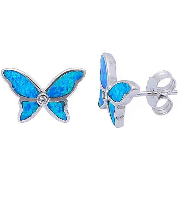 Lab Created Blue Opal & Cz Butterfly .925 Sterling Silver Stud Earrings - CC123VRH9YP