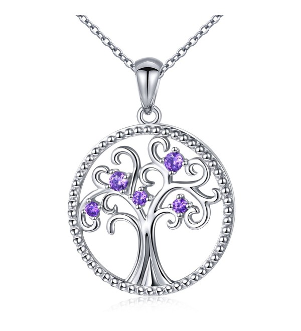 "S925 Sterling Silver Filigree Tree of Life CZ Pendant Family Tree Necklace for Women- 18"" Rolo Chain - CU184US9IZZ"