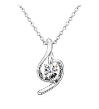 18k Gold-Plated Austrian Crystal Angel Curve Pendant Necklace Afterglow Jewelry - CY12DX0JL19