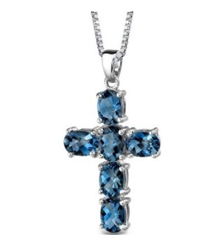 London Blue Topaz Cross Pendant Necklace Sterling Silver Rhodium Nickel Finish 6.00 Carats - CK113RDB9UT