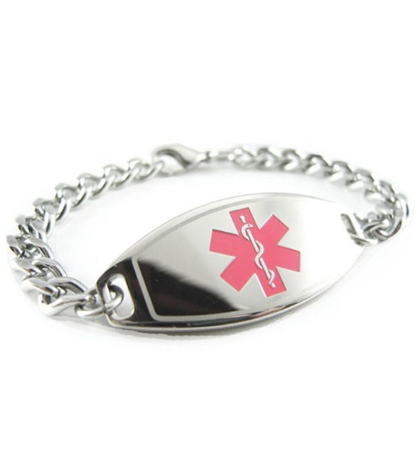 MyIDDr - Pre-Engraved & Customized Diabetes Type I Medical Bracelet- Pink - C6119I6Y5AT