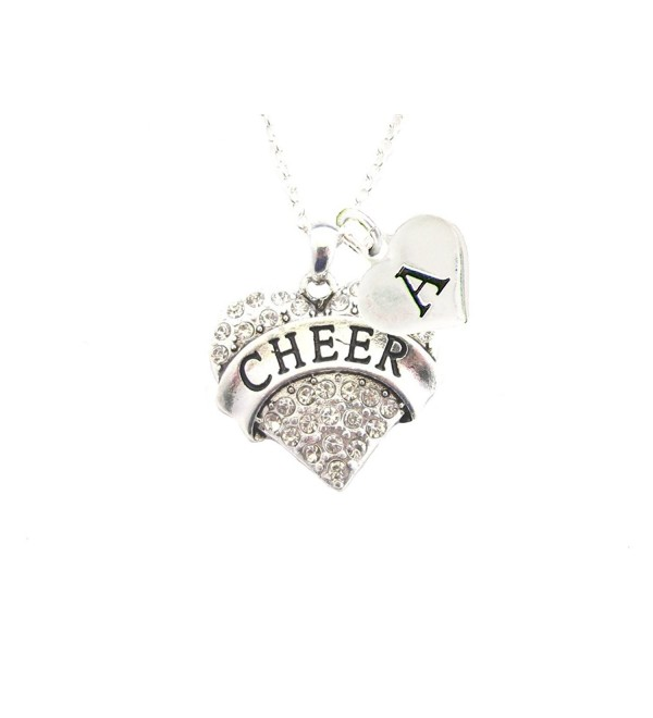 Custom Crystal Cheer Cheerleading Silver Chain Necklace Choose Initial Charm - CU12MZ0AZAG