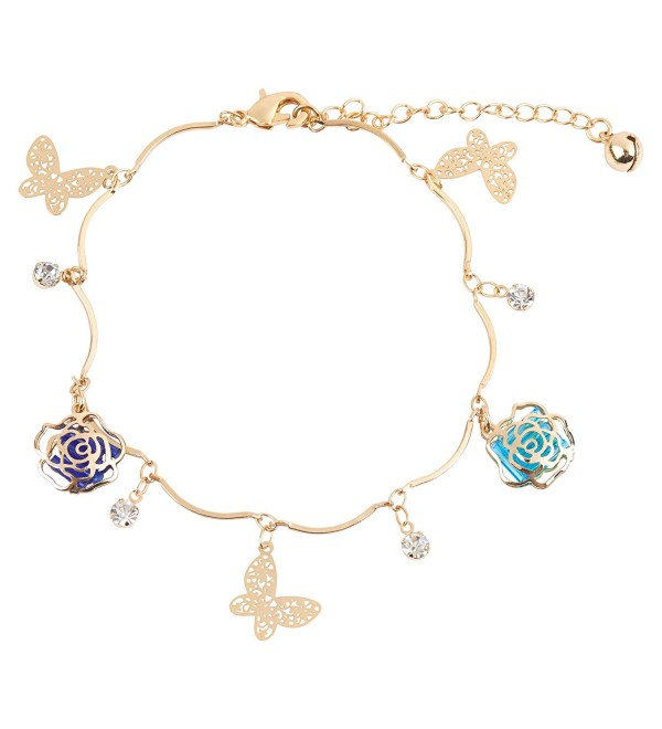 24K Gold Rhinestone Butterfly & Rose Charm Fashion Women's Chain Bracelet and Anklet - CZ18220O2TA