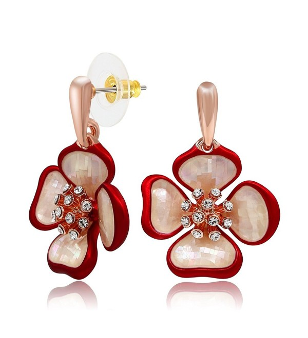 Kemstone Crystals Flower Earrings Rose Gold Tone Sea Shell Women Jewelry - Red - CJ12MAL3YX2