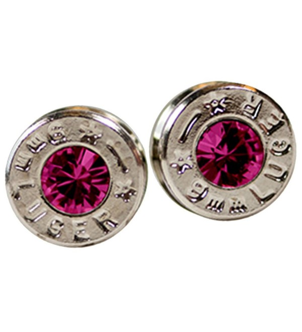 Silver and Rose Pink Swarovski Gem Real Bullet Earrings - CF12IV3DQTB