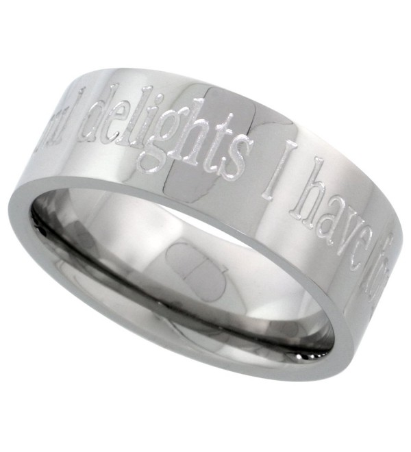 Stainless Steel 8mm I HAVE FOUND THE ONE IN WHOM MY SOUL DELIGHTS Wedding Ring Comfort-Fit- sizes 8 - 14 - CK113U6T3KL