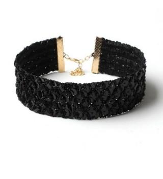 MJARTORIA Womens Vintage Gothic Black Sequins Rhinestone Wide Velvet Choker Necklace - CN184HZMROS