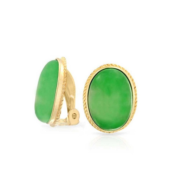 Bling Jewelry Dyed Green Jade Oval Gold Plated Silver Clip On Earrings - CP11FFIUPO5
