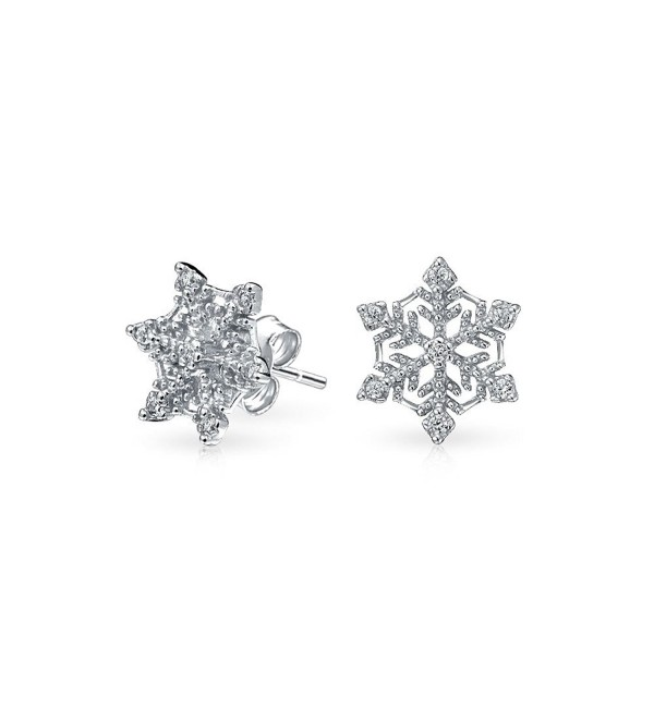 Bling Jewelry Winter Snowflake Pave CZ Stud earrings 925 Sterling Silver 10mm - CE115F6IKTJ