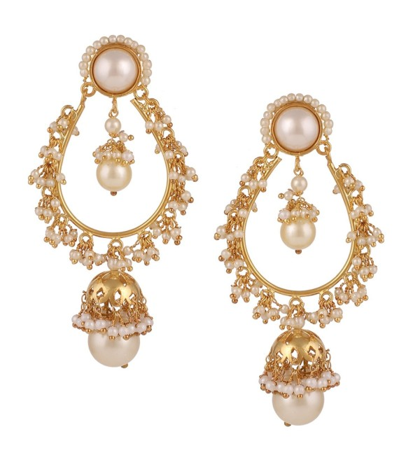 Swasti Jewels Bollywood Chand Bali with Pearls Fashion Jewelry Earrings for Women - CC12MAJDEO8