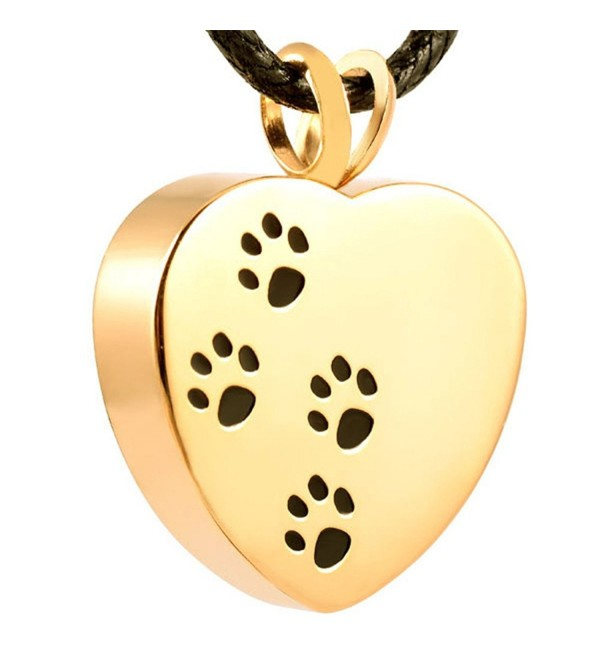 Stainless Memorial Necklace Cremation Jewelry - gold - CF17Y2H35MN