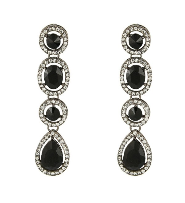 EleQueen Women's Austrian Crystal Art Deco Teardrop Party Long Dangle Earrings - Black-tone Black - C111W6X7V53