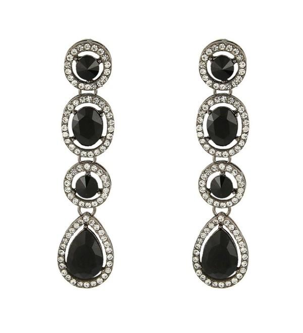 EleQueen Women's Austrian Crystal Art Deco Teardrop Party Long Dangle Earrings - Black-tone Black - C111W6X7V53