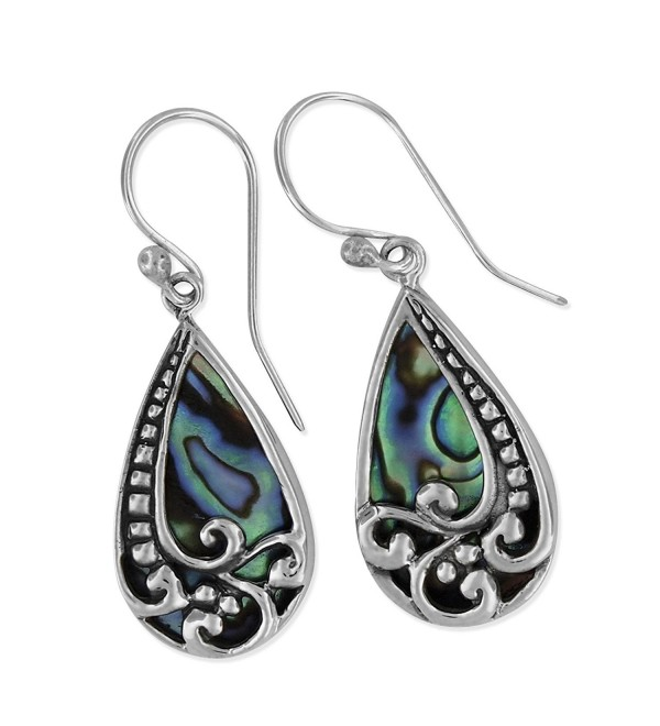 Sterling Silver Abalone Shell Bali Teardrop Dangle Earrings - CZ11O6GWTJB