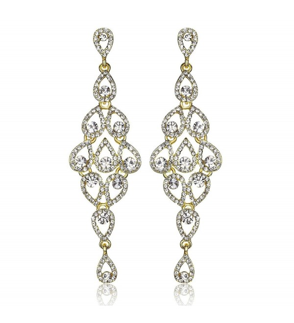 Janefashions DROPS AUSTRIAN CRYSTAL RHINESTONE GOLD CHANDELIER DANGLE EARRINGS BRIDAL E2088G - CQ12JCAGFBH