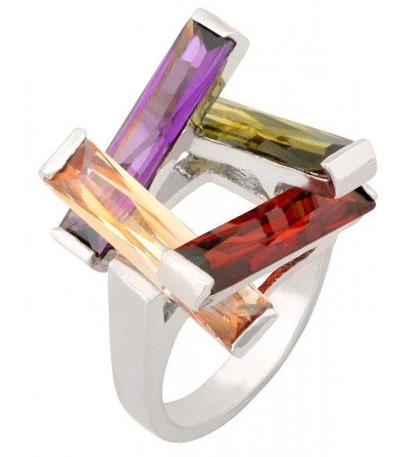 JanKuo Jewelry Rhodium Plated with a Combination of Four Long Bar Multi-Color CZ Ring with Gift Box - CY116VE9LIX