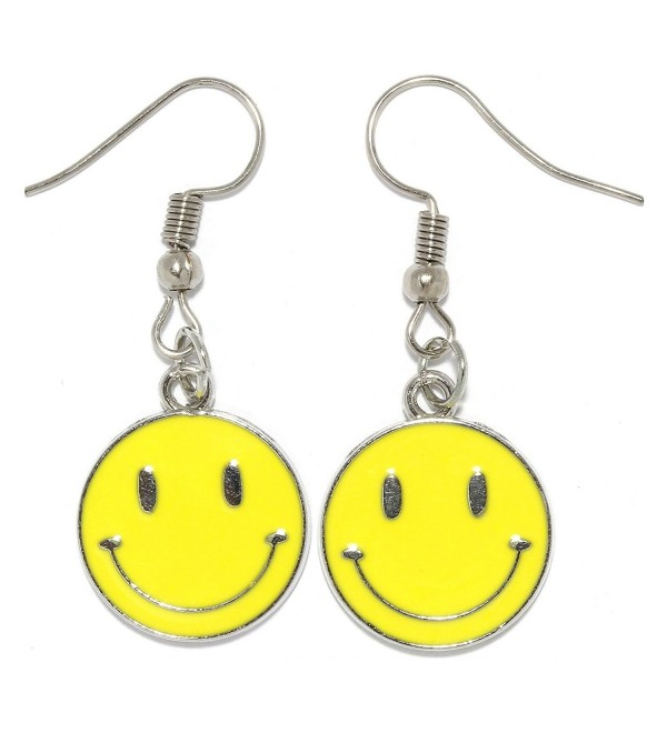 Dangle Earrings Happy Smiley Face Circle Silver Yellow Tone Alloy AnsonsImages - CR1887NN4E5