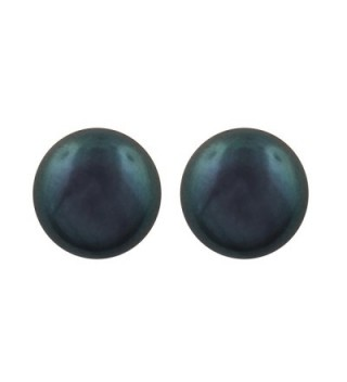 Sterling Silver 6.5mm Black Button Simulated Pearl Stud Earrings - CL11EM0S6A1