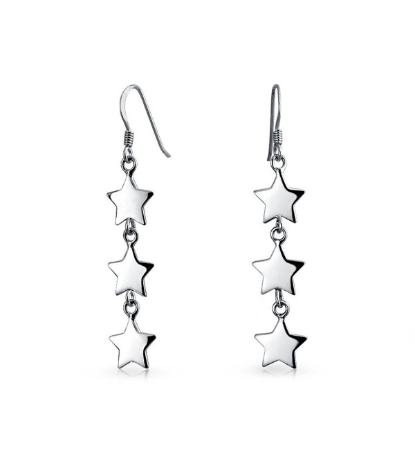 Bling Jewelry Modern Three Stars Sterling Silver Dangle Earrings - CV11ZTMB2M1
