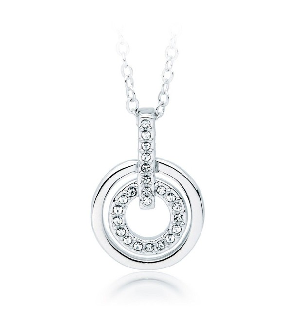 "MYJS Circle Rhodium Plated Classic Necklace with Clear Swarovski Crystals - 17+2"" Extender - CH1230N8J85"