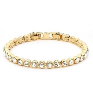 MYJS Tennis 16k Gold Plated Classic Bracelet with Clear Swarovski Crystals - 17+2cm Extender - CI1230N6STH