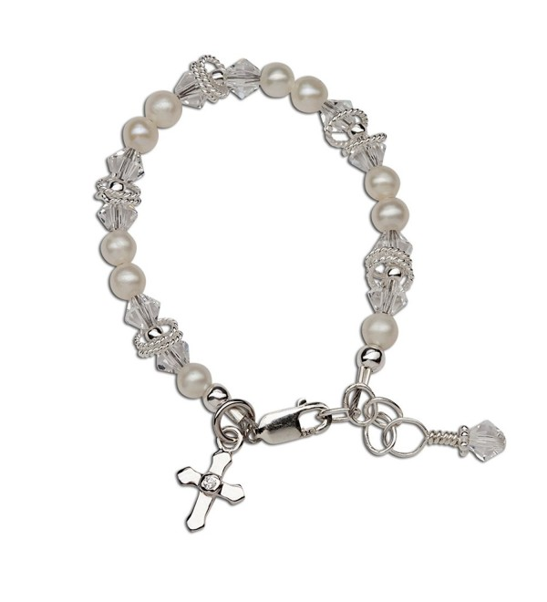 Children's Sterling Silver First Communion- Baptism Cross Bracelet with Cultured Pearl and Crystal - CI11LPCI0Z1