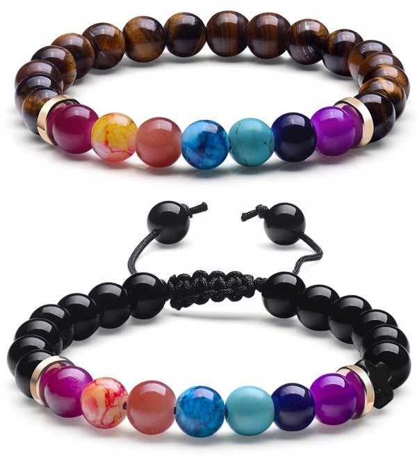 7 Chakra Bracelet- Natural Real Stone Bead Bracelet For Couples Men Women Yoga Healing Stretch Bracelets - CN188RCDMNS