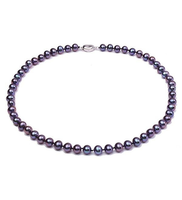 "JYX 8mm Black Cultured Freshwater Pearl Necklace 18"" - C612ODKC0OT"