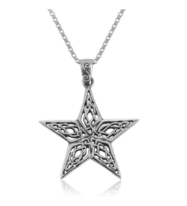 MIMI Sterling Silver Celtic Pentacle Pentagram Wiccan Pagan Pendant Necklace- 18 inches - C81275WIM8J