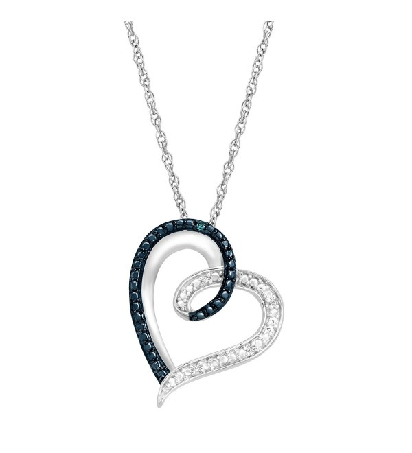 "Heart Pendant Necklace with Blue and White Diamonds in Sterling Silver- 18"" - C412BZH026F"