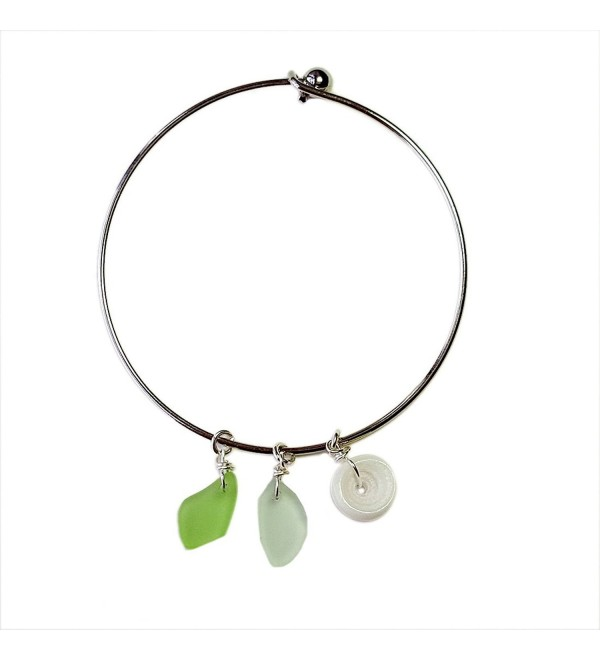 Hawaiian Sea Glass and Puka Shell Charm Bracelet Bangle - C8129XTJCB3