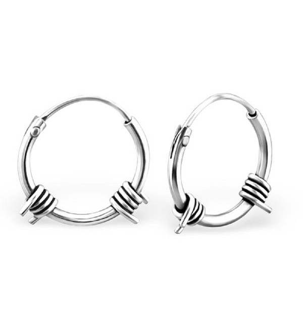 925 Sterling Silver 12mm Bali Barb Wire Endless Hoop Earrings 24661 - CA12DFANKOZ