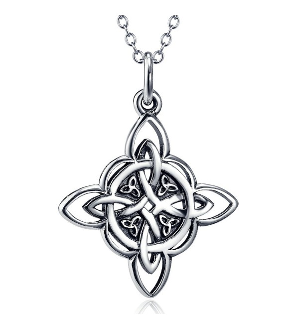 "925 Sterling Silver Celtic Triquetra Trinity Knot Good Luck Pendant Necklace- Rolo Chain 18"" - CY17Z4E27KA"