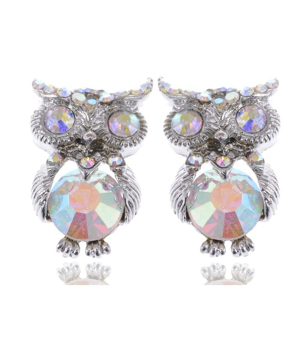 Alilang Silvery Tone Iridescent Small Owl Bird Stud Earrings - CD114V6A7PN