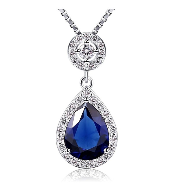 B.Catcher Necklace Womens Blue Crystal Pendant 925 Sterling Silver Valentines Day Gift for Her With Gift Box - C9185N0UYR2