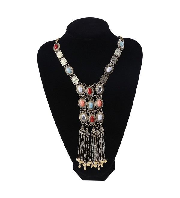 Paxuan Antique Turquoise Necklace Statement - Antique Gold - CI17YTD6OT9
